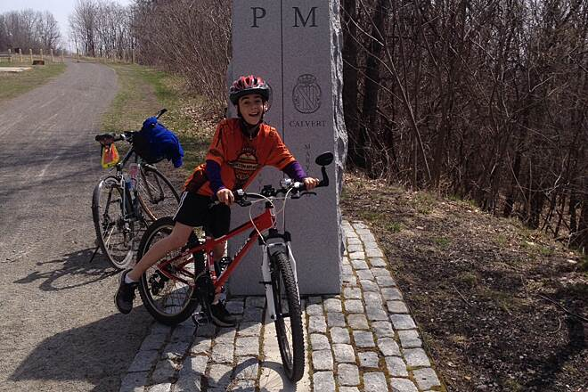 Great Allegheny Passage Mason-Dixon Line  Hemi Miller at the MD line