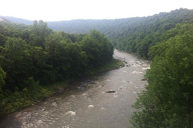 Great Allegheny Passage Youghiopyle River View of the 'Youghio' River near Ohiopyle