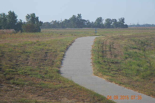 Great Bend Levee Trail South Bound Trail emerges from Barton CO Rd underpass.Noel Keller 4 Sep 15