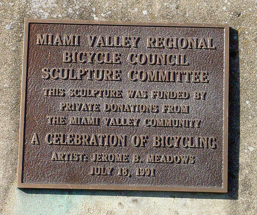 Great Miami River Trail Dayton July 2015 Bicycle sculpture plaque