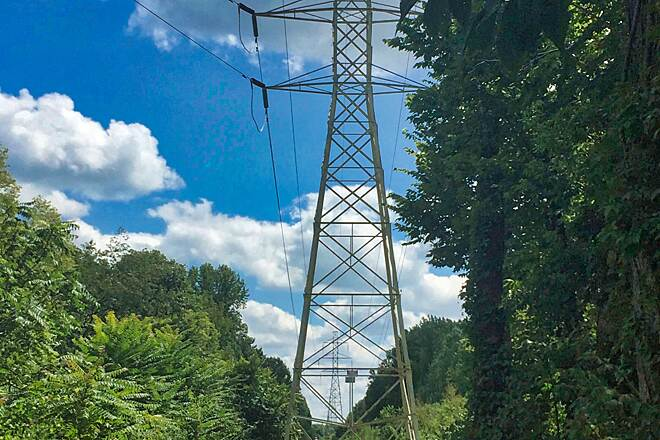 Great Miami River Trail The Power and the Glory? The trail snakes between and parallels power line towers within the Taylorsville MetroPark in Montgomery County, Ohio.  August 12, 2017.