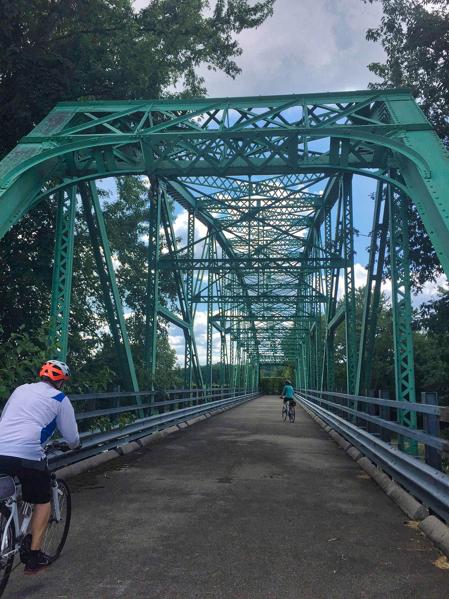 Great Miami River Trail Bridge to Nowhere This bridge crosses the Great Miami River near Huber Heights between Rip Rap Road toward Radvansky Lane but the far end is blocked preventing passage.  August 12, 2017.