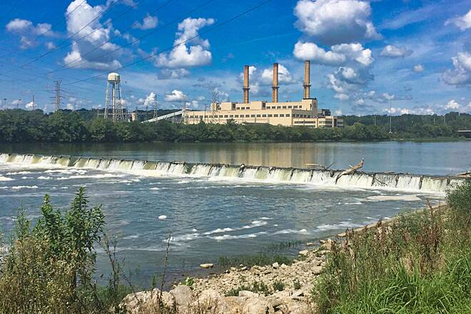 Great Miami River Trail Hutchins Station Power Plant A view across the Great Miami River at the Hutchins Station Power Plant between Franklin and Miamisburg, Ohio.  August 13, 2017.