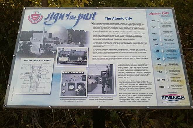 Great Miami River Trail Piqua atomic past sign History of first city atomic power plant.