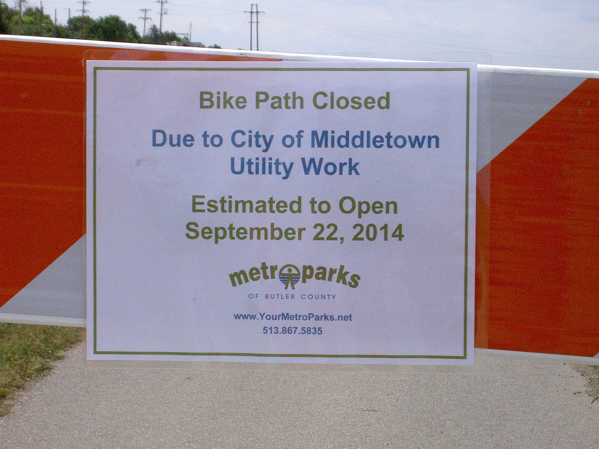 Great Miami River Trail Short Middletown section close Short Middletown section closed 08-14-2014