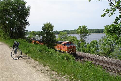 Great River State Trail   The trail runs close to the train tracks just north of Onalaska