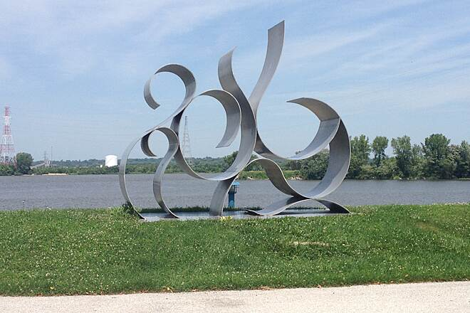 Great River Trail Rapids Sculpture Located at the East Moline, Illinois Welcome Center at Beacon Harbor.