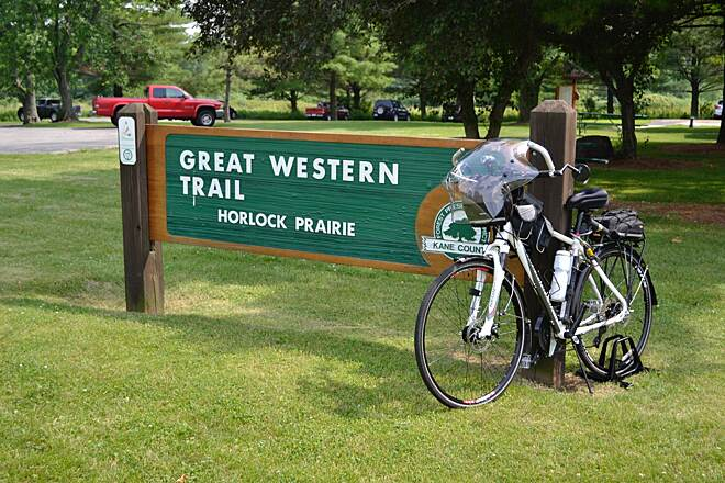Great Western Trail (DuPage County) The Great Western Trail Mile Zero across from LeRoy Oaks Forest Preserve