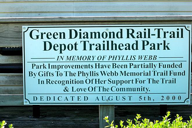 Green Diamond Rail-Trail Sign on Waggoner Depot