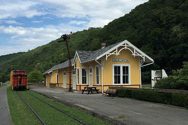 Greenbrier River Trail Marlinton depot Restored train depot at Marlinton along Greenbrier River trail.