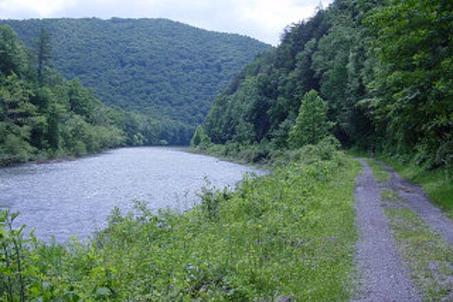 Greenbrier River Trail Greenbrier River and Trail A good depiction of the trail surface and scenery.