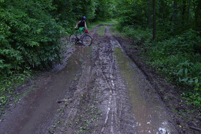 Greenbrier River Trail Greenbrier Trail Mud This June 2003 photo was taken after several days of rain and parts of the trail were very muddy.