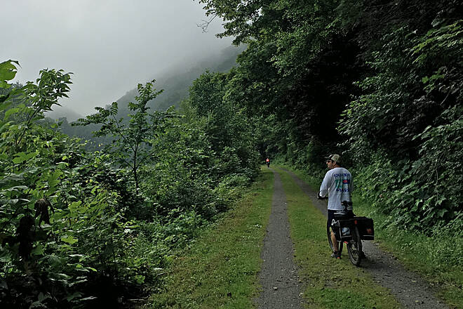 Greenbrier River Trail Misty morning Stopping to enjoy the fog and mist just north of Watoga State Park