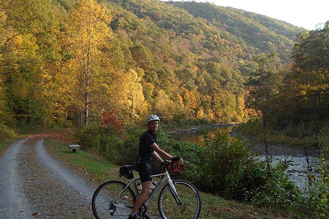 Greenbrier River Trail View of the river Part of a 2-day ride that my wife and I did, going the whole legnth of the trail and back.