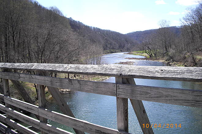 Greenbrier River Trail Marlinton - Clover Lick One of many small and large bridges to cross. This one across the Greenbrier river leads to a 400 foot long tunnel...on the way toward Clover Lick from Marlinton.