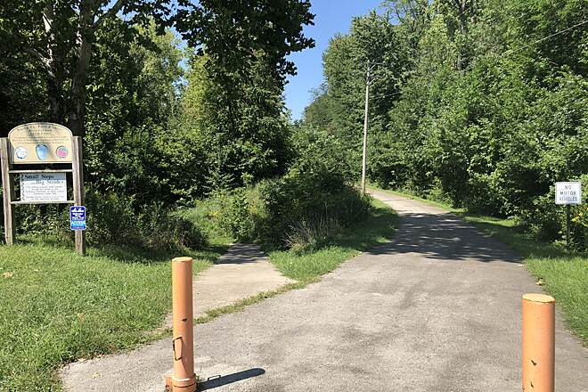 Greenville Creek Trail North Ohio Street Trailhead This is a view of the start of the trail near the Caddie Shack golf driving range off of North Ohio Street in Greenville, Ohio.
