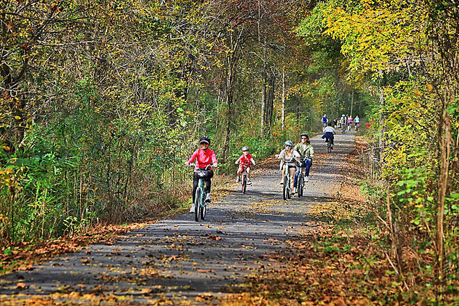 Greenville Health System Swamp Rabbit Trail GHS Swamp Rabbit Trail in Fall An easy pedal through the fall foliage as people enjoy the gentle grade between the cities of Travelers Rest and Greenville in Greenville County, SC