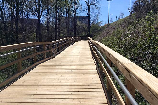 Greenville Health System Swamp Rabbit Trail New Boardwalk This new Boardwalk is at the Cancer Survivors Park on the Swamprabbit Trail near downtown Greenville.