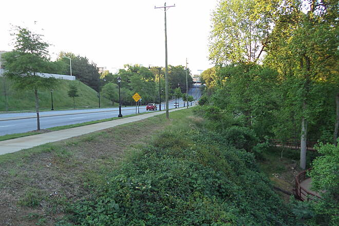 Greenville Health System Swamp Rabbit Trail Church St. At the intersection of the boardwalk and Church St.