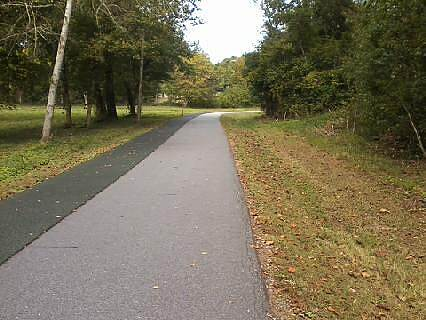 Greenville Health System Swamp Rabbit Trail Multipurpose Trail Lanes for biking, and soft lane for jogging.