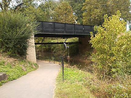 Greenville Health System Swamp Rabbit Trail Tight Squeeze Trail narrows to fit in underpass