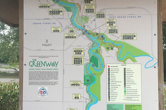 Greenway of Greater Grand Forks Greenway of Greater Grand Forks  Greenway map located near River Dam, North Dakota side of Red River