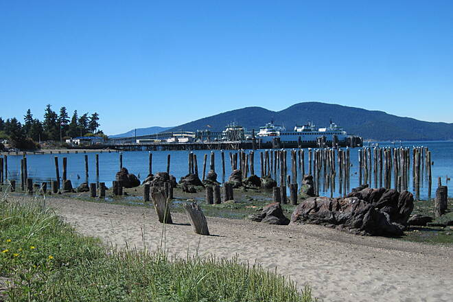 Guemes Channel Trail GUEMES CHANNEL TRAIL The ferry terminal at Ship Harbor from the boardwalk.
