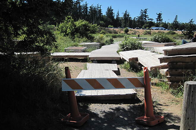 Guemes Channel Trail GUEMES CHANNEL TRAIL The boarwalk across the wetlands is a work in progress during the summer of 2013.  