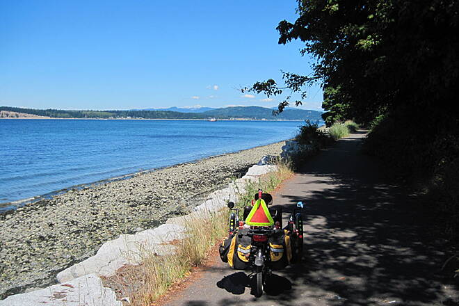 Guemes Channel Trail GUEMES CHANNEL TRAIL This is actually a waterfront trail with views to match.  When the seas are up you can get wet.