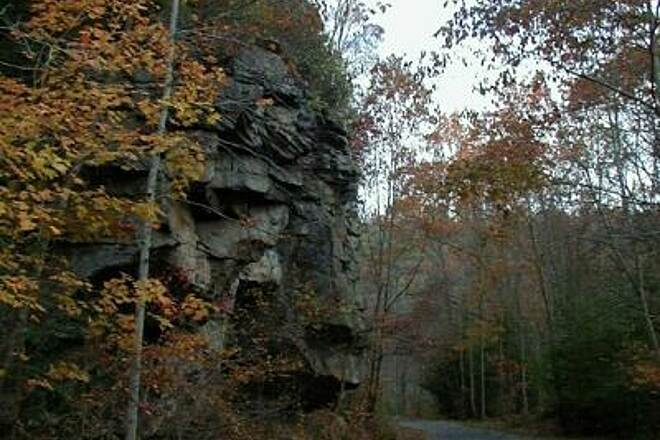 Guest River Gorge Trail Rock Outcrop over Trail  Numerous outcroppings and cliffs soaring several hundred feet in places