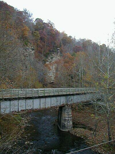 Guest River Gorge Trail Interstate Bridge at end of Trail Last bridge on trail is decked to allow access across Guest River and Clinchfield Railroad