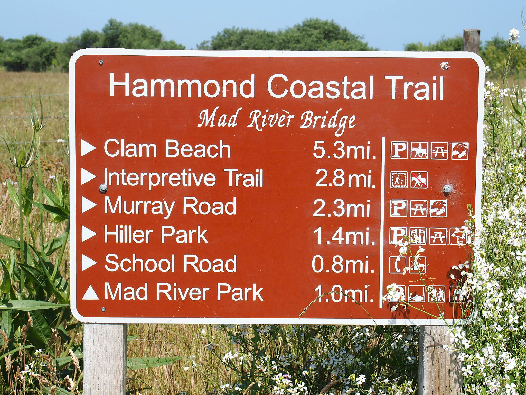 Hammond Trail Mile marker highlights This sign is at the very southern end of trail.  Learn more about the trail at http://completestreetsadvocate.org/2013/07/21/hammond-trail-images-and-more/