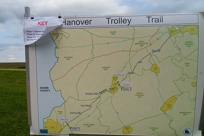 Hanover Trolley Trail Hanover Trolley Trail Map at the ribbon-cutting ceremony celebrating the opening of the newest segment of the trail, between Hershey and Martin roads in Jackson Twp. in August 2012. Unfortunately, the ceremony was cut short by heavy downpours.