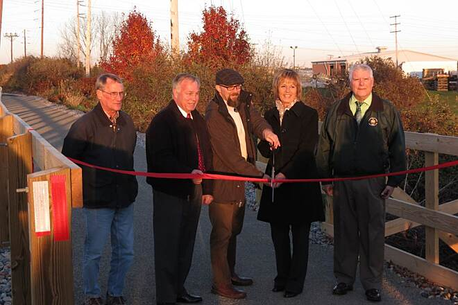 Hanover Trolley Trail Ribbon Cutting Ribbon cutting for new one mile segment of Hanover Trolley Trail in Penn Township.