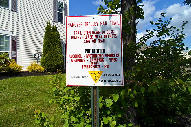 Hanover Trolley Trail Hanover Trolley Trail Another sign near the western terminus of the trail's Hanover/Penn Twp. segment. Taken on a warm, sunny day in May 2014.