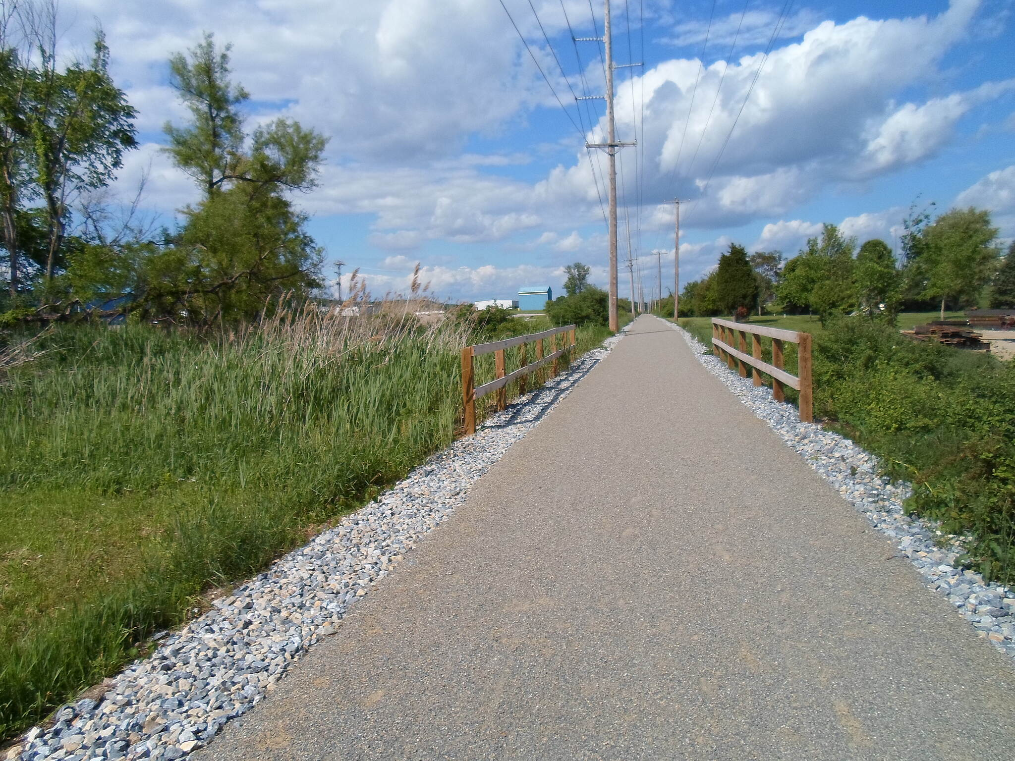 Hanover Trolley Trail Hanover Trolley Trail The trail is very straight for most of its length, which is a legacy of its days as a trolley line. This photo was taken in Penn Twp. on a warm, sunny day in May 2014.