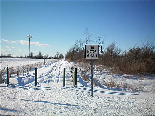 Harger Line Rail-Trail  Reese RD crossing, ILLEGAL snowmobiling tracks