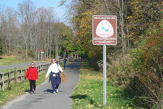 Harlem Valley Rail Trail Harlem Valley Rail Trail Walking ranks second to biking as a popular trail activity.