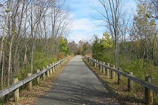 Harlem Valley Rail Trail Harlem Valley Rail Trail Guard rails are also being used to prevent bicyclists from veering off of the trail surface.