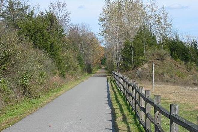 Harlem Valley Rail Trail Harlem Valley Rail Trail Weathered split rail fencing has been installed along several trail segments as a safety measure.