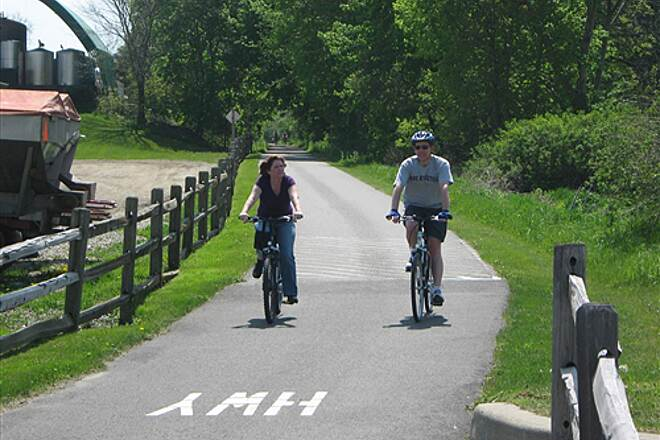 Harlem Valley Rail Trail  Coming up to a road crossing along the trail