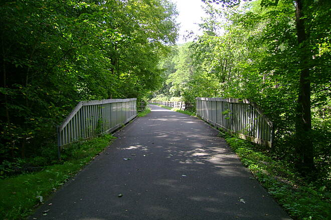 Harlem Valley Rail Trail Millerton, NY Mill Road Bridge on the Millerton trail.