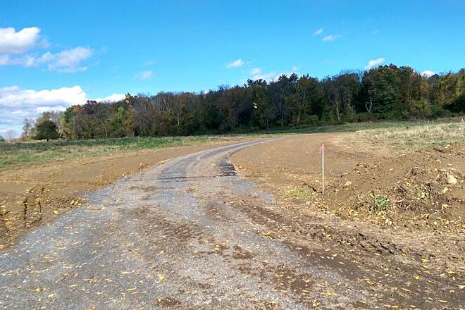 Harlem Valley Rail Trail New construction New construction north of N. Mountain Road.  Trail begins to deviate off old ROW and curves around this field.