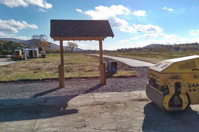 Harlem Valley Rail Trail New construction Unfinished kiosk at new trailhead off Orphan Farm Road.