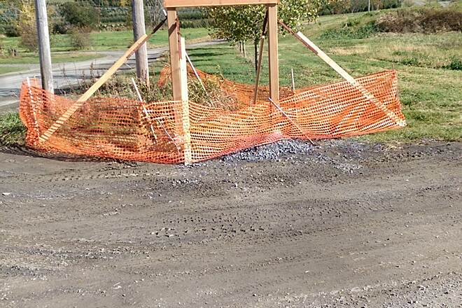 Harlem Valley Rail Trail New construction Unfinished sign at new trailhead off Orphan Farm Road.  Looks like there will be ample parking space.
