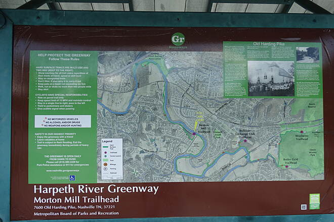 Harpeth River Greenway Map sign At Morton Mill Trail Head