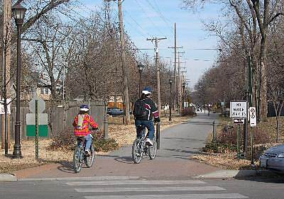 Harry Wiggins Trolley Track Trail Neighborhood Connection The trail enters a residential district at 62nd Terrace.