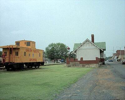 Hazen Trail (Railroad Prairie Natural Area) Caboose and Depot Looking west, near the middle of the trail.
