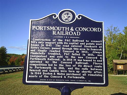Head's Pond Trail  Historic Marker Describing the Rail Route
