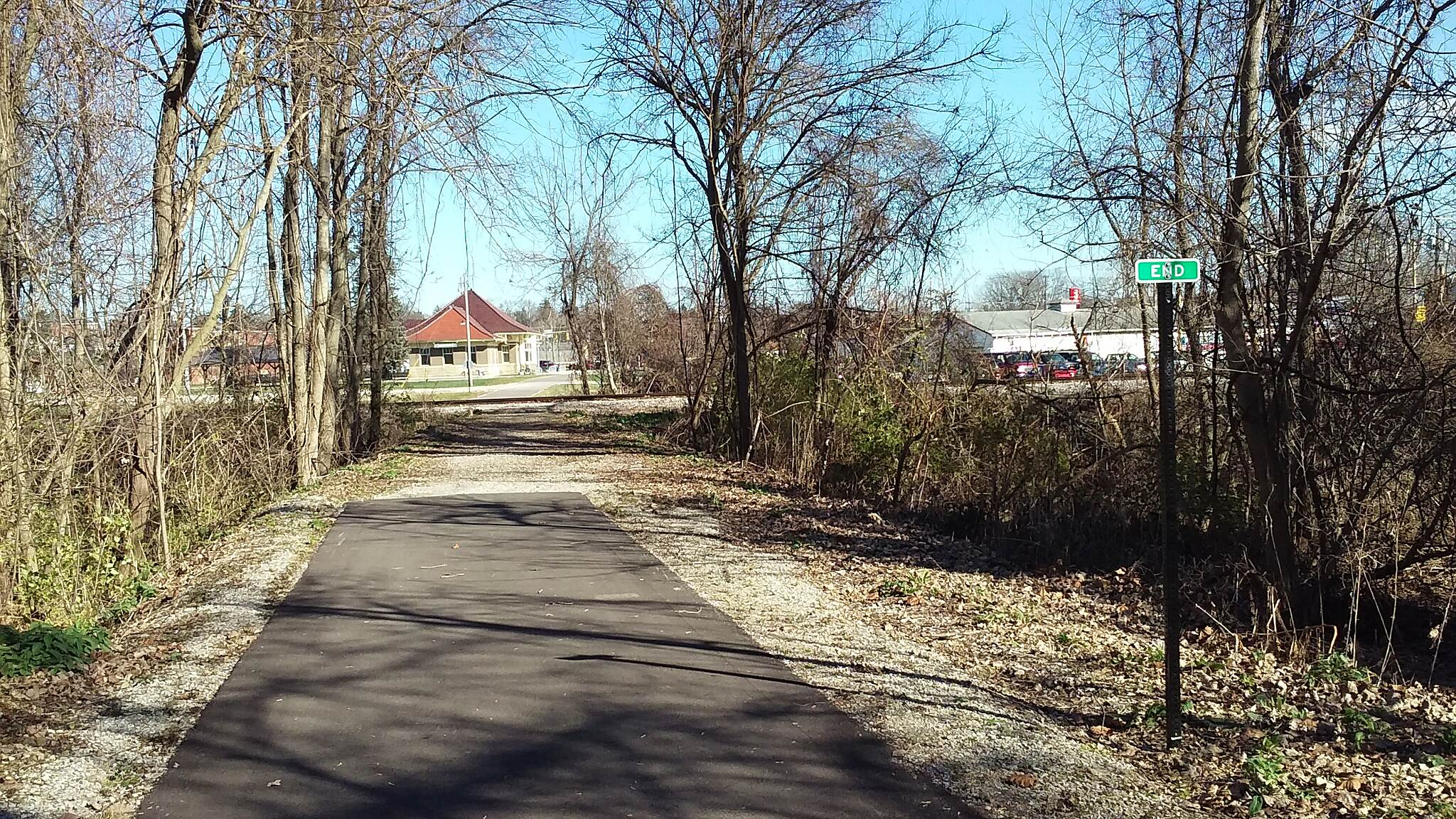 Heart of Ohio Trail Northbound November 2015 North terminus of Heart of Ohio Trail, Mt. Vernon depot and downtown Mt. Vernon are visible across active railroad track